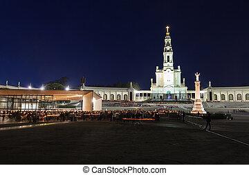 The Sanctuary of Fatima at the night, Fatima, Portugal