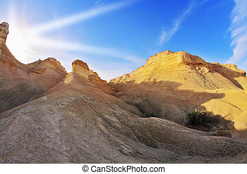 The sandstone on a sunset