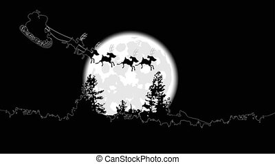 The Santa Claus flies against a full moon - Santa Claus on a...