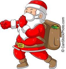 The Santa clause bringing the big bag of gift