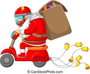 The Santa clause riding his scooter and bringing the big bag of gift for Christmas