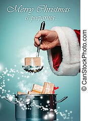 The Santa hand holding a ladle or kitchen spoon