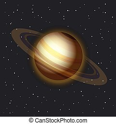 The Saturn in space vector illustration