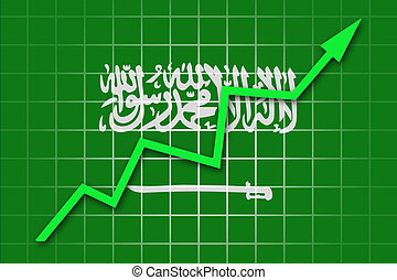 The Saudi Arabia flag and arrow graph going up