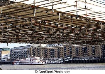 The scaffolding under Tower Bridge