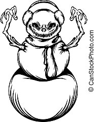 The tattoos animation of the scare snowman with two branches hands
