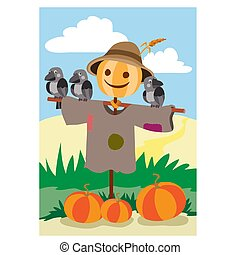 the scarecrow stands in the garden and guards the pumpkin, crows are sitting on his hands, vector illustration,