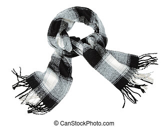 The scarf - Checkered wool scarf on pure white background