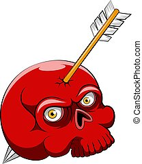 The scary skull head with the red color and the arrow in shoot of head