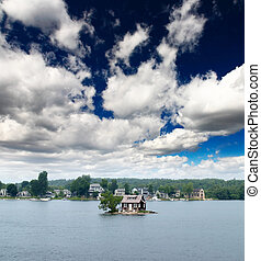 The scenary of thousand Islands on Saint Lawrence River between US and Canada