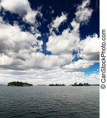 The scenary of thousand Islands on Saint Lawrence River...
