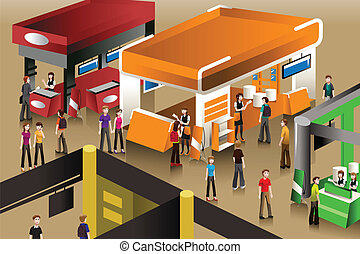 A vector illustration of peoples looking at an exhibition booths