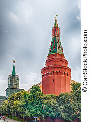 The scenic Corner Arsenalnaya Tower of the Moscow Kremlin, Russia