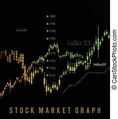The schedule for changing the stock market graph in a positive direction. The investment economy and the development of new financial tools for trade online. Vector