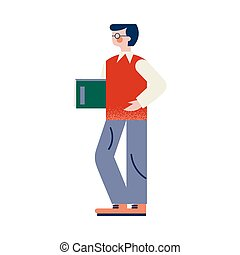 School male teacher in glasses and grey pants standing with a book under his arm. Education and learning concept. Isolated vector icon illustration on white background in cartoon style.
