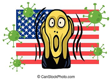 The Screaming People Head Over Coronavirus COVID-19 Illustration with American Flag Background. Vector Illustration