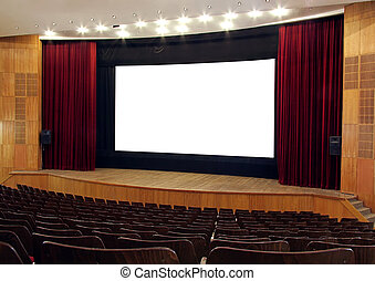 the screen - cinema; wooden walls and chairs, red velvet...