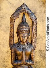 The Sculpture of deva status on meditation style