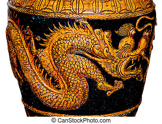 The Sculpture of dragon on jar