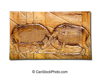The Sculpture sandstone of buffalo fighting isolated on white background