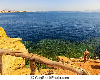 The sea and beach at Reef Beach in Sharm El Sheikh