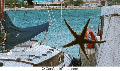 The sea behind sea stars and fishnet