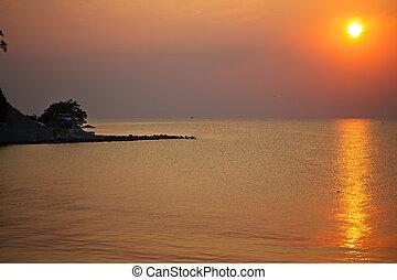The sea coast of Bulgaria. Beautiful Sunset in Nessebar