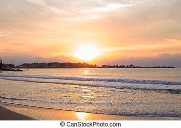The sea coast of Bulgaria. Beautiful Sunset in Nessebar.