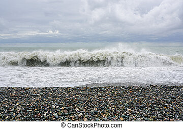the sea coast of the Black Sea in stormy weather, big waves