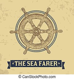 The sea farer concept. Nautical helm wheel with rope