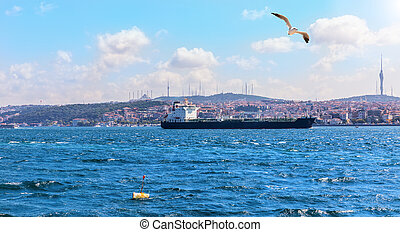 The Sea of Marmara, Bosporus straight in Istanbul, Turkey
