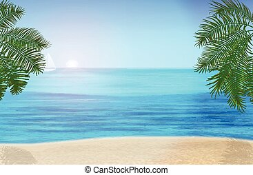 The sea, palm trees and tropical beach under blue sky. Vector illustration
