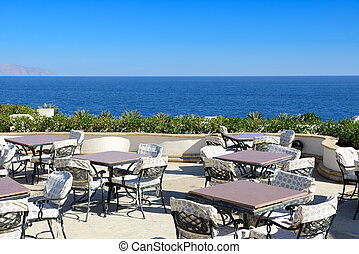 The sea view outdoor terrace at luxury hotel, Sharm el...