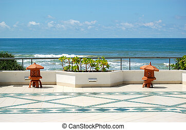 The sea view terrace at luxury hotel, Bentota, Sri Lanka