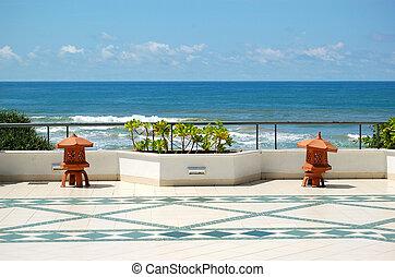 The sea view terrace at luxury hotel, Bentota, Sri Lanka