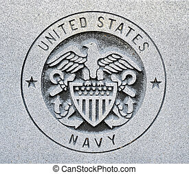 The seal of the United States Navy engraved into granite