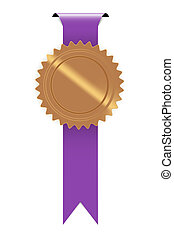 the seal with purple ribbon