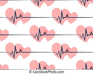 Seamless background with hearts and cardiogram.
