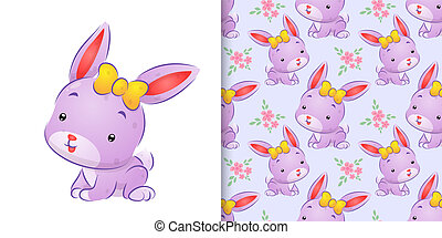 The seamless drawing of the colored rabbit with the cute ribbon on her head