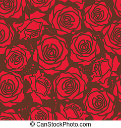 The seamless of a red roses on brown background