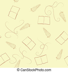 The seamless pattern with book