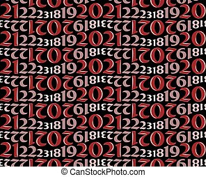 Seamless red background with numbers.