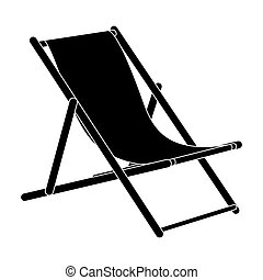 The seat for sunbathing on the beach. Summer rest single icon in black style bitmap, raster symbol stock illustration.