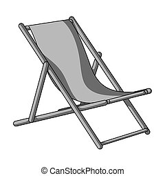 The seat for sunbathing on the beach. Summer rest single icon in monochrome style bitmap, raster symbol stock illustration.