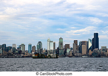 The Seattle downtown view from Ferry, USA.
