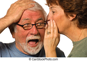 The Secret-Surprise - Wife whispers into husband's ear, ...