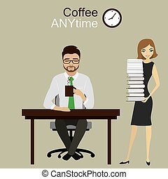 The secretary brought manager or office worker a lot of paper work,