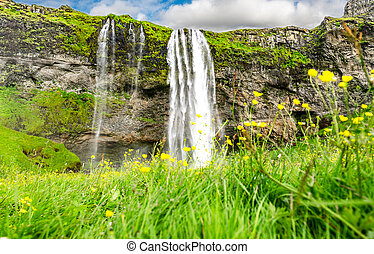 The Seljalandsfoss waterfall in south Iceland