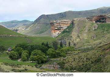 The Sentinel and Glen Reenen rest camp in the Golden Gate Highlands National Park, South Africa