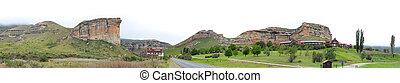 The Sentinel and hotel in the Golden Gate Highlands National Park, South Africa. Stitched panorama from 8 separate photos